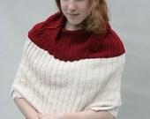 Upcycled Recycled Repurposed Sweater Shawl Shrug Cranberry Cream