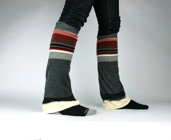 Upcycled Recycled Repurposed Sweater Leg Warmers Stripes Charcoal Gray Cream Black Oxblood