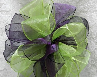 Eggplant Purple and Lime Green Wedding/ Pew Bows set of 10