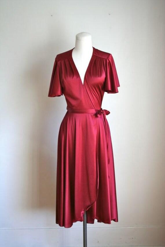 vintage 70s wrap dress GARNET flutter sleeve party by MsTips