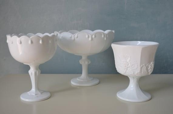 Vintage white milk glass pedestal bowl compote dish