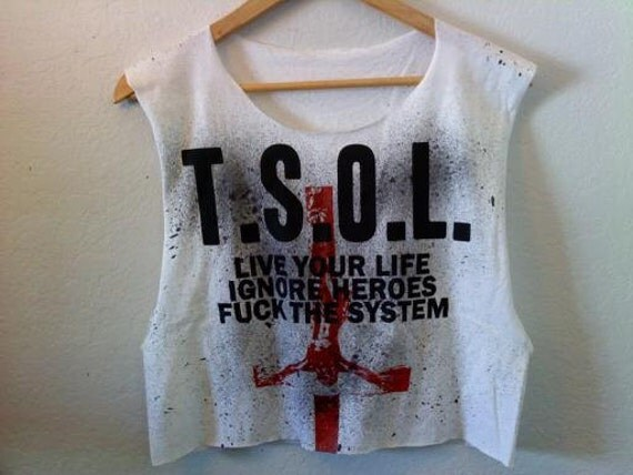 T.S.O.L. True Sounds Of Liberty Crop Top / Ultra Low Armholes / 70s 80s 90s / Summer Festival / Band Shirt