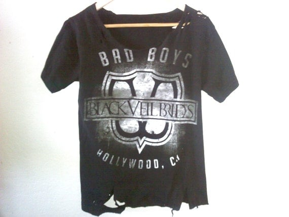 2 Sided Black Veil Brides TShirt / BVB / Band Shirt / Destroyed & Tattered / Summer Festival