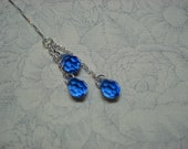 Sapphire Crystal Trios on Sterling Ear Threads-FREE SHIPPING To U.S.- Threader Earrings