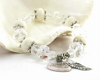 Angel Wing White Sponge Coral Bracelet