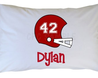 Personalized Football Pillow Case, Choose Your Team Colors, Travel or Standard Size