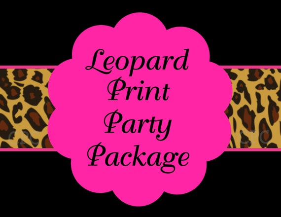 Items similar to hot pink leopard birthday invitation party decorations party supplies party - Cheetah print centerpieces ...