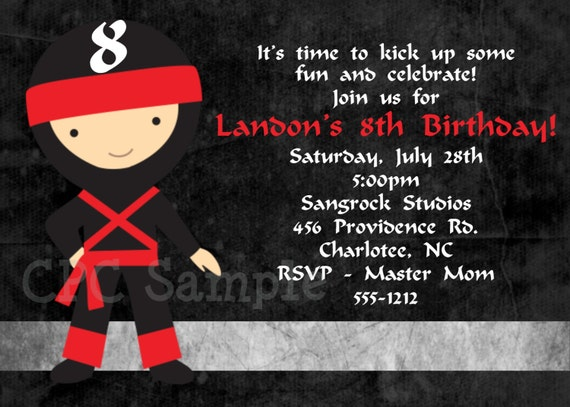 Ninja Birthday Invitations For Taekwondo Birthday Invitation
