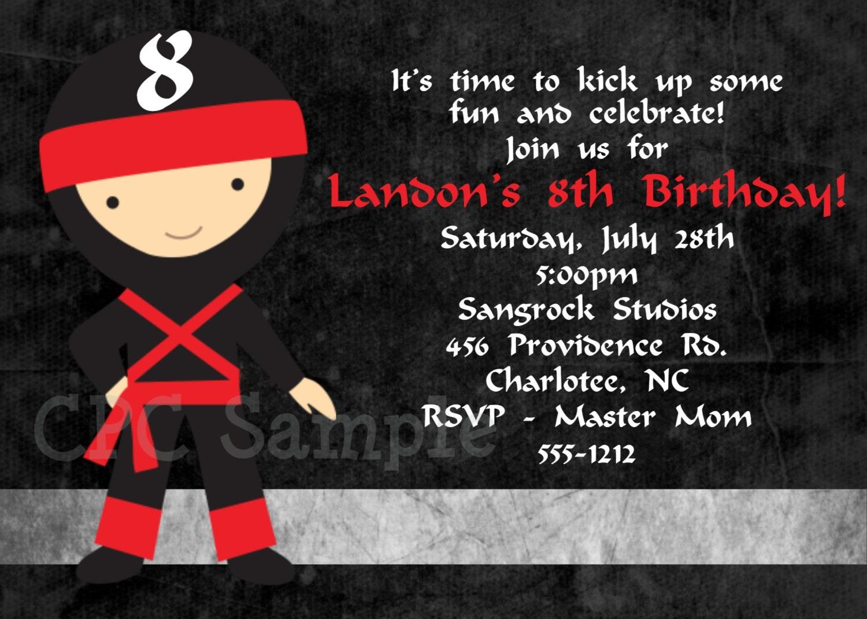 Ninja Birthday Invitations for Taekwondo Birthday Invitation