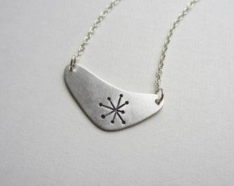 Atomic Starburst Boomerang Necklace sterling silver mid century modern handmade (N12)