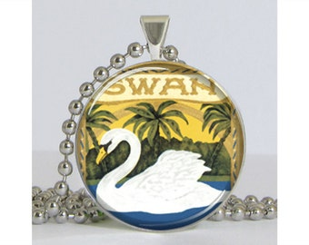 Swan Advertising Art Silver Plated Necklace with Chain Resin Pendant Picture Pendant Art Pendant Photo Pendant
