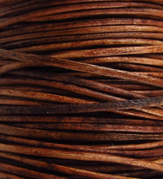 2 Yards - .5 mm Distressed Brown Leather Cord