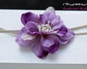 Baby Headband, purple Flower Headband, Small Flower Headband