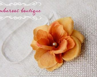 orange baby girl headband on skinny ivory elastic, Newborn Headband, Baby Headband, rustic orange