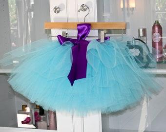 teal blue tutu, flower girl dress, chic tutu, sewn tutu, purple tutu