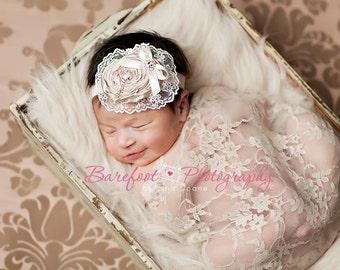 baby headband, champagne headband, flower girl hair accessories