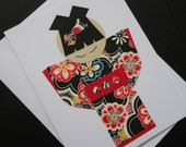Japanese Kokeshi Doll Stationary Card - Pretty Indigo Sakura