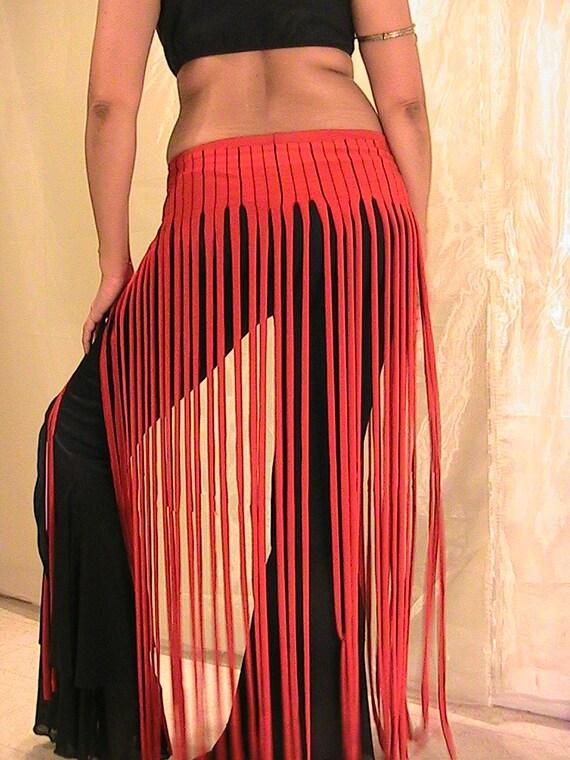 ATS Tribal Belly Dance Fringe skirt, panel skirt , hip apron in Black and Red stripes MED-LARGE