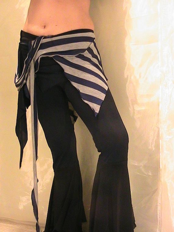 Tribal Belly dance Seaweed skirt, panel skirt , hip apron Blue and Gray stripes MED-LAR