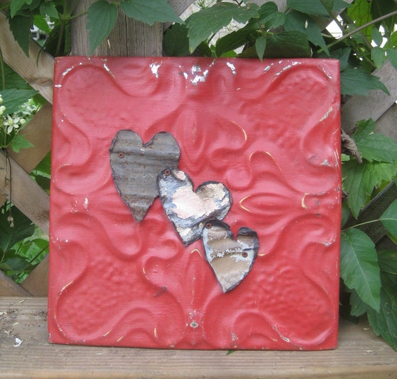 Rustic Vintage Three  Hearts Decorative Ceiling Tin Plaque - Wedding Gift- Birthday Valentine