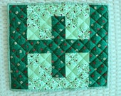 """Lady Bug Patchwork Green and White Quilted Table Topper / Centerpiece Mat - Mug Rug - 12"""" wide x 14"""" long"""
