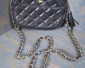CHANEL vintage 80s black quilted leather chain strap small logo shoulder bag