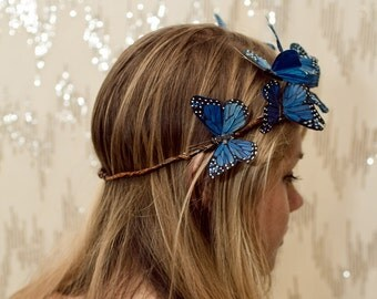 Blue Woodland Butterfly Crown - princess, fairy, renaissance,sapphire,forest