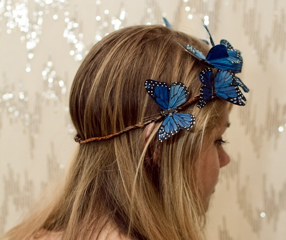 Blue Woodland Butterfly Crown - princess, fairy, renaissance,sapphire,forest