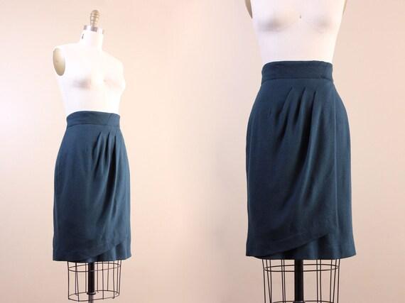 vintage skirt // 70s 80s green pencil skirt // M medium // faux wrap skirt avant garde // wool skirt