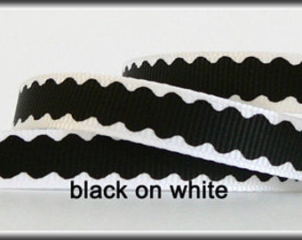 Black Wavy Pattern on White 3/8 Grosgrain Ribbon - 5 yards (other colors also available)
