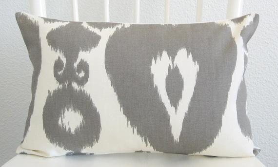 Iskander Ikat Silver 12x18 gray off white lumbar pillow cover