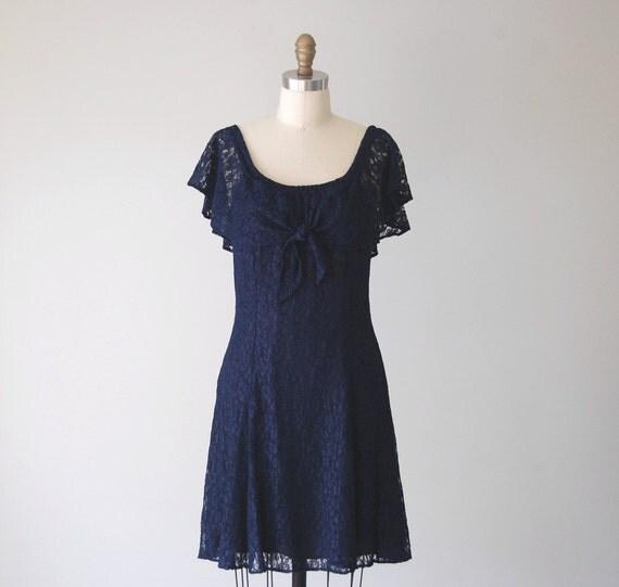 Vintage Navy Blue Lace Dress / 1980s Flutter Sleeve and Tie Neck Dress