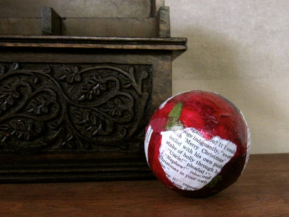 A Christmas Carol Decorative Ball Christmas Ornament with Vintage Dickens Book Text and Cranberry Red Paper