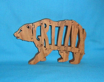 Grizzly Bear Wooden Scroll Saw Puzzle