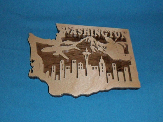 Washington wooden scrol saw state plaque - Plaque bois hydrofuge ...