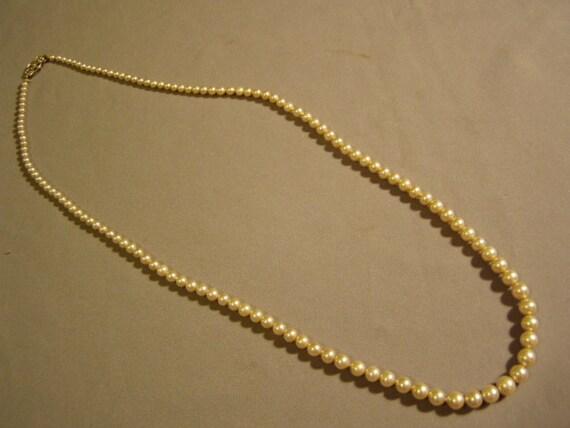 Vintage La Tausca Faux Pearl 24 Necklace 14k White Gold