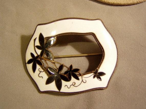 Antique Victorian Black & White Enamel Sash Pin Brooch Art Nouveau Design 3469