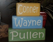 BABY BIRTH Announcement PERSONALIZED First Middle Last Name Girls Boys Kids Children Cowboy Wood Sign Blocks Primitive Country Rustic