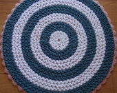 Round Reversible Crochet Rug in Pink, White and Dusty Blue (Striped) - 24 inches
