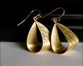 Dangle Earrings-Gold Hammered Loop Hoop Earrings-Urban-Edgy-Unique Earrings