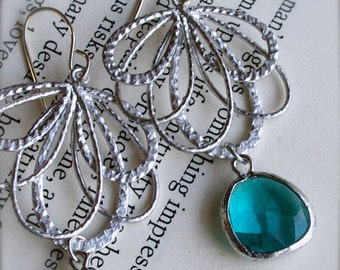 Silver Chandelier Earrings with Bezel Set Deep Teal Glass-Blue Green Gemstone-Bridesmaid Earrings-Spring Fashion-Mothers Day Gift