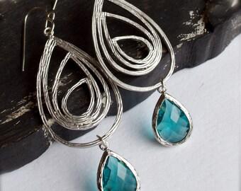 Chandelier Earrings-Silver-Teal
