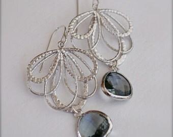 Chandelier Earrings with Faceted Grey Bezel Set Glass - Bridesmaid Earrings-Bride
