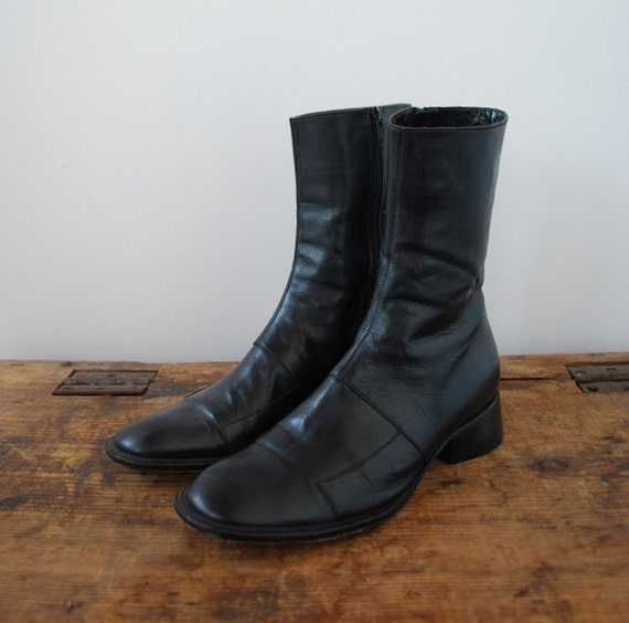 Black Italian Leather Minimalist Ankle Boots 7