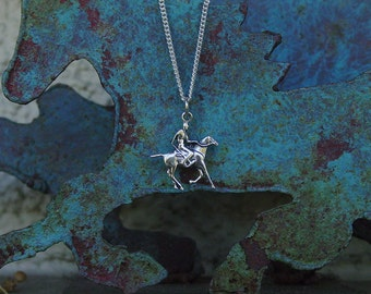 Polo Jewelry Rider Horse Pendant Sterling Silver with Chain,Equestrian Jewelry,Horse Necklace,Polo Jewelry