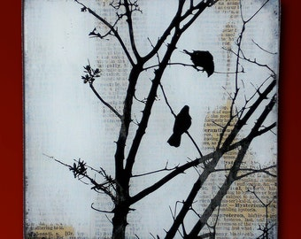 Black Bird Tree Handmade Glass and Wood Wall Blox from Upcycled Dictionary page book art - WilD WorDz - Carriers of the Word 2 of 4