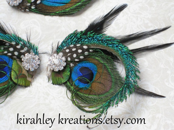 Black, Peacock & Sword Feather SHOE CLIPS w/ Guinea Sparkling Rhinestones AGATHA Wedding Bride Bridesmaids Shoes Prom Accessory Clip