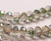 Crystal faceted rondelle -  100 pcs - full strand - 3.5 mm - AA quality - sparkle mix -clear - green - magenta