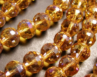 Crystal - round faceted 12mm beads - 20 pcs - AA quality - sparkle yellow topaz