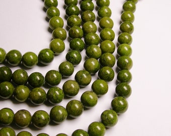 Green Pyrite - 12 mm round beads -1 full strand - 33 beads -  A quality